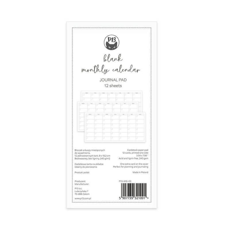 Blanc monthly calendar