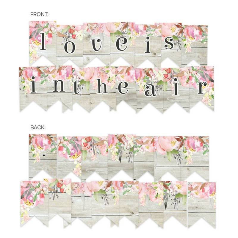 Banner/ die cut paper Love in Bloom, 15 pcs.