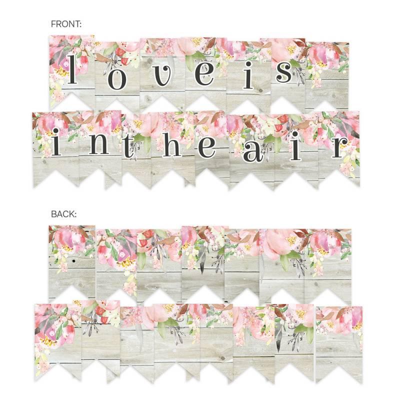 Banner/ die cut paper Love in Bloom, 15 pcs.