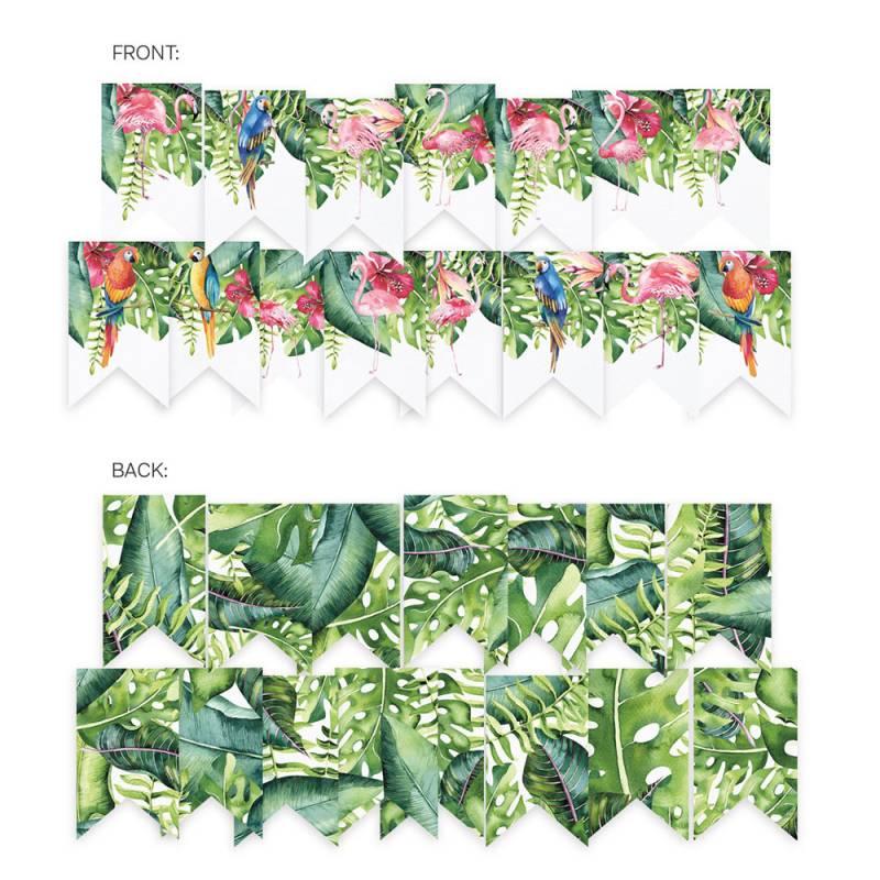 Banner/ die cut paper Let's flamingle, 15 pcs.
