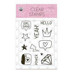 Clear stamp set Girl Gang 01, 12 pcs.