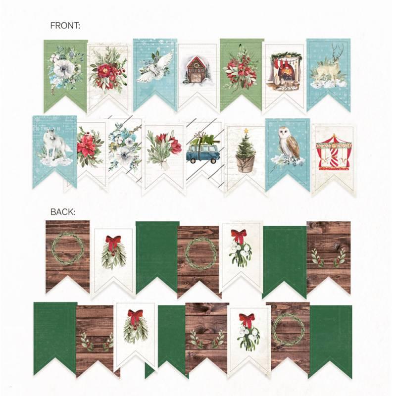 Banner/ die cut paper The Four Seasons - Winter, 15 pcs