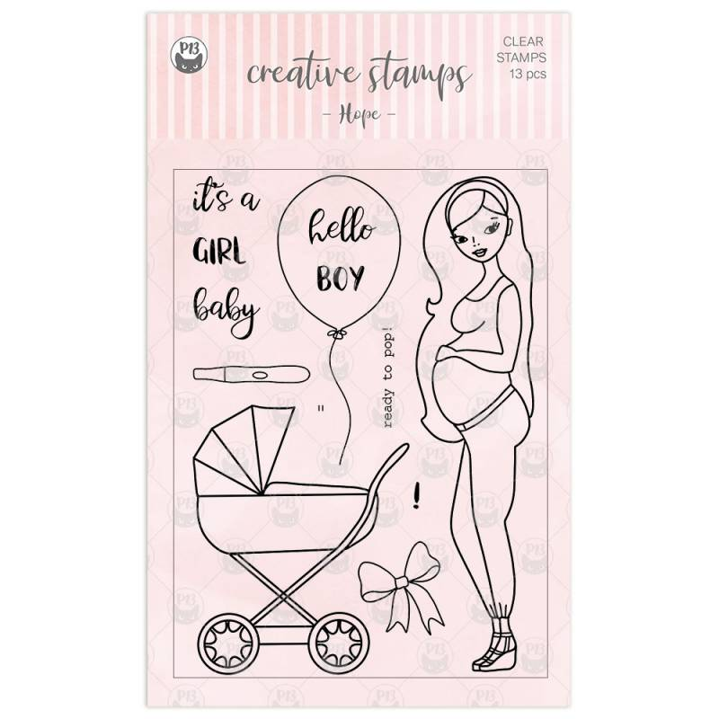 Clear stamp set Hope, 13 pcs.