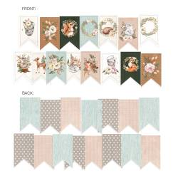 Banner / die cut paper Forest tea party, 15 pcs