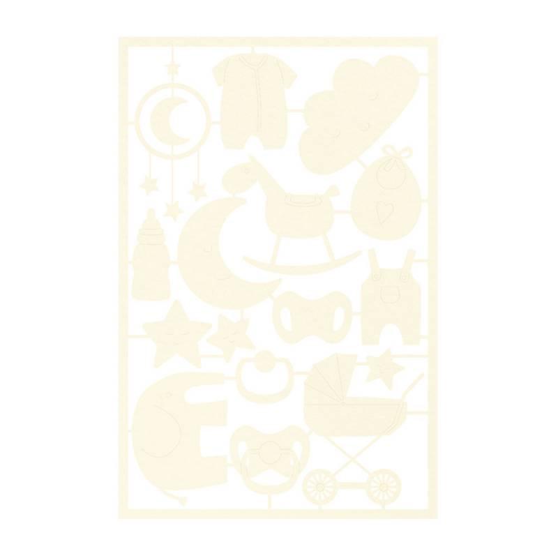 Light chipboard embelishments Baby Joy 03, 16pcs