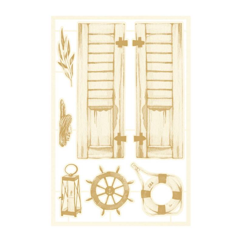 Light chipboard embelishments Beyond the sea 01, 7pcs