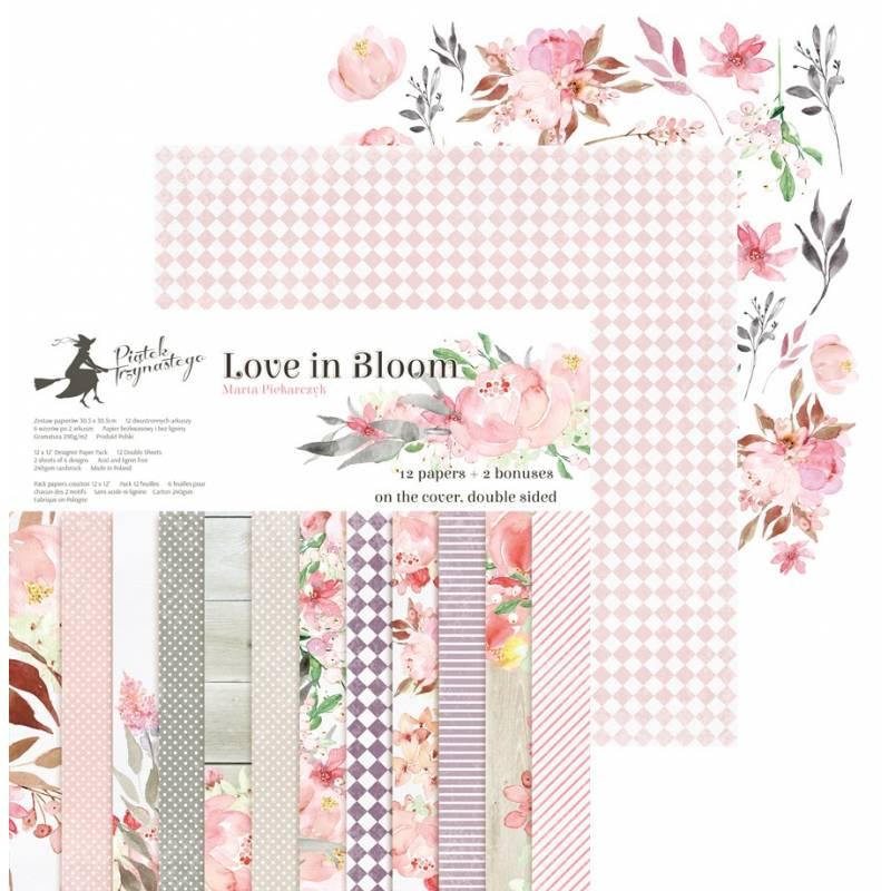 "Paper pad Love in Bloom, 12x12"""