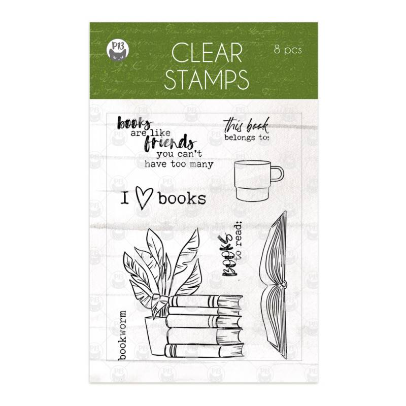 Clear stamp set The Garden of Books, 8pcs