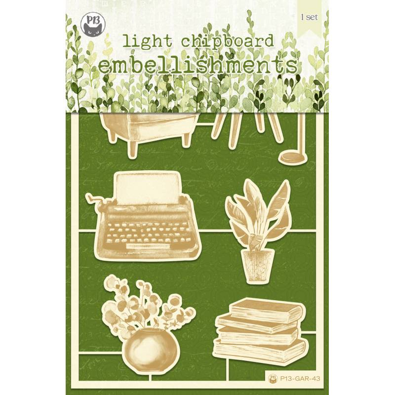 "Light chipboard embellishments The Garden of Books 01, 4x6"", 7pcs"
