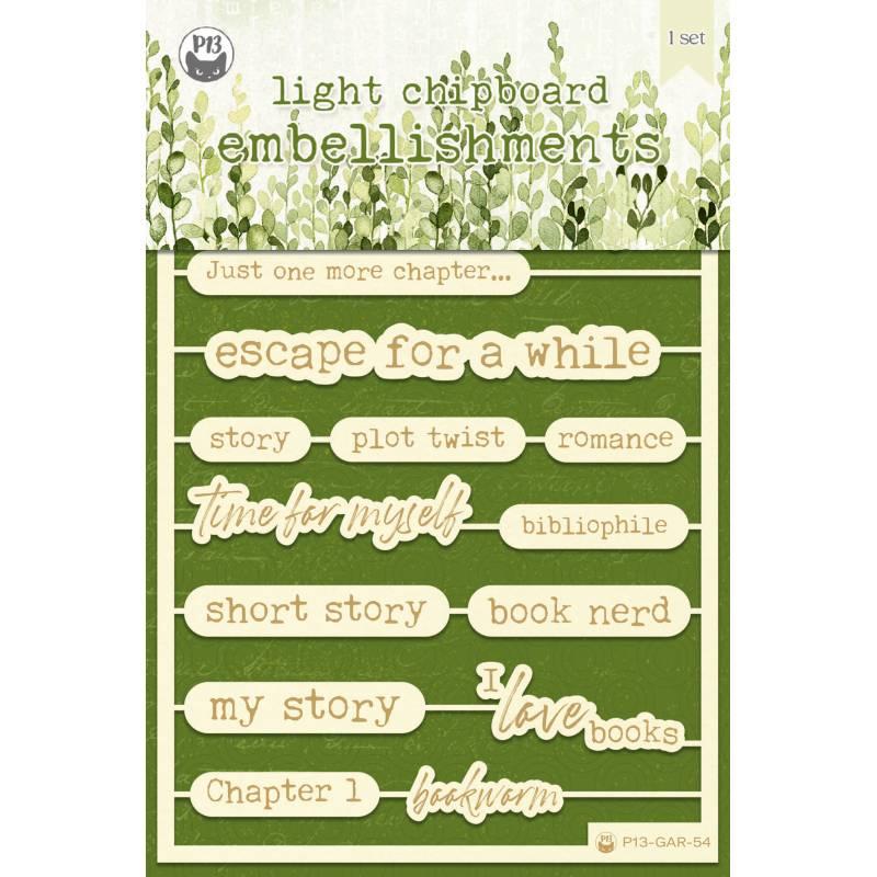 "Light chipboard embellishments The Garden of Books 07, 4x6"", 17pcs"
