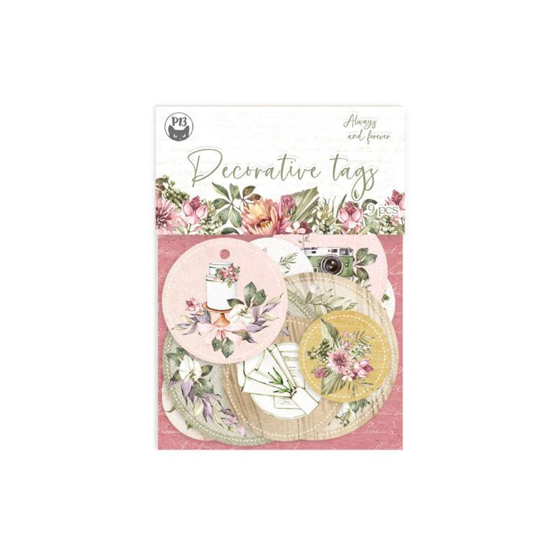Decorative tags Always and forever 01, 9pcs