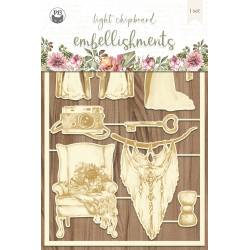 "Light chipboard embellishments Always and forever 04, 4x6"", 9szt."