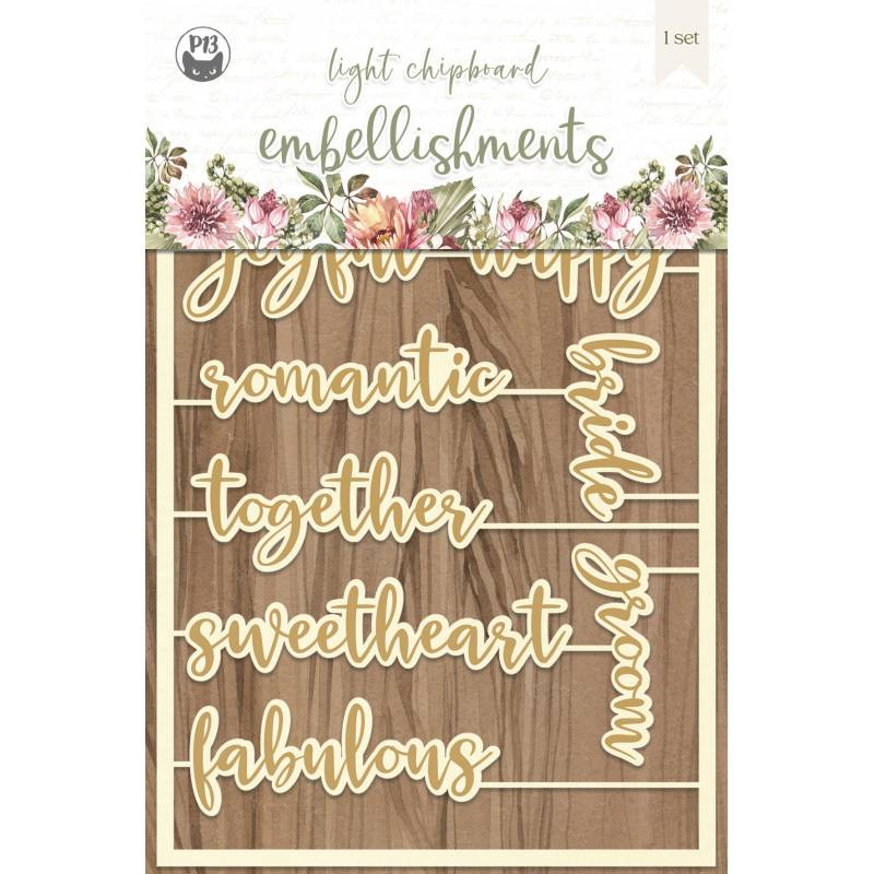 """Light chipboard embellishments Always and forever 06, 4x6"""", 10szt."""