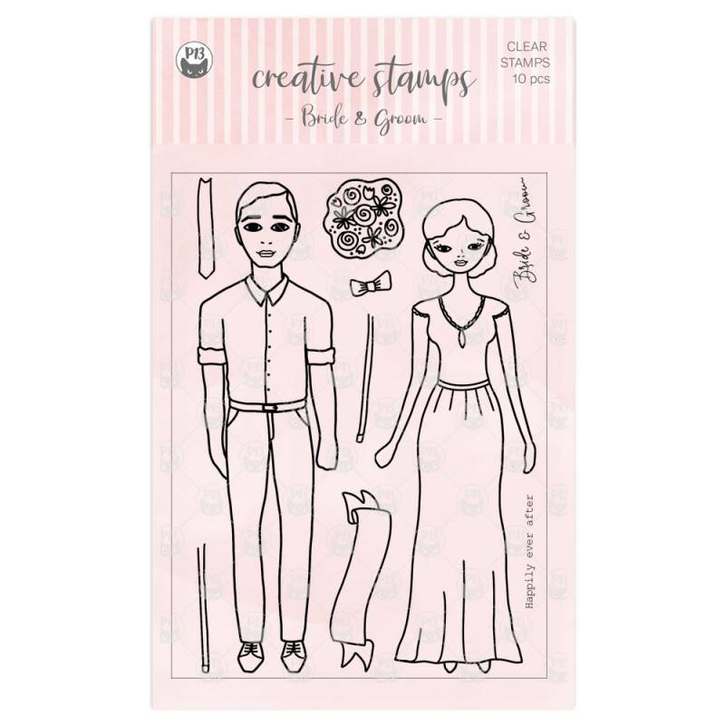 Clear stamp set Bride and Groom A6, 10pcs
