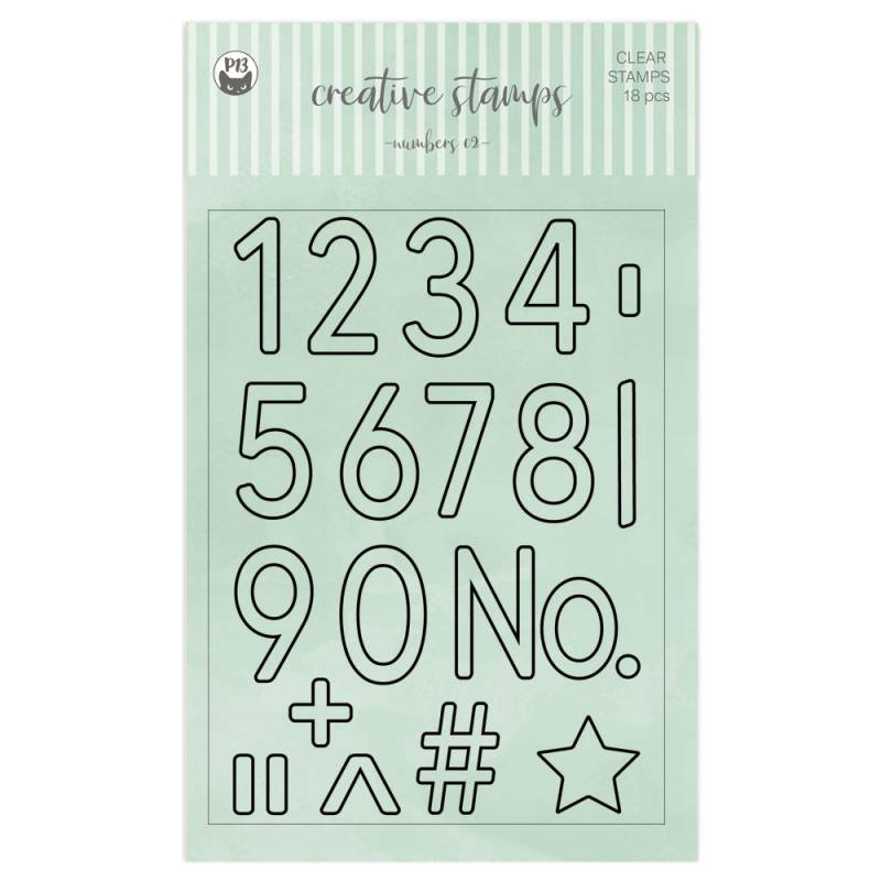 Clear stamp set Numbers 02 A6, 18pcs