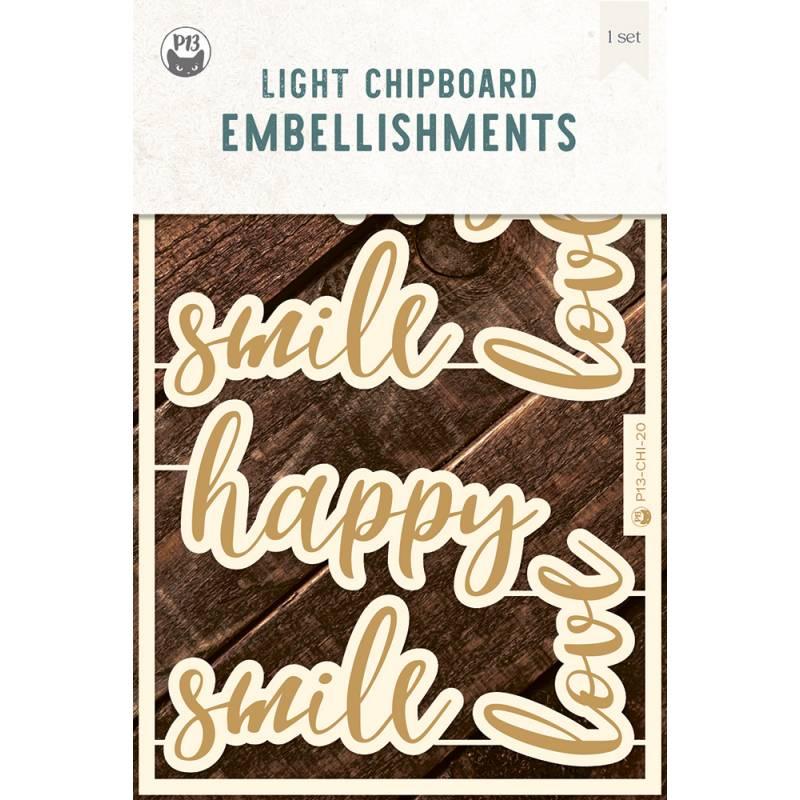 "Light chipboard embelishments set Words 01, 4x6"""