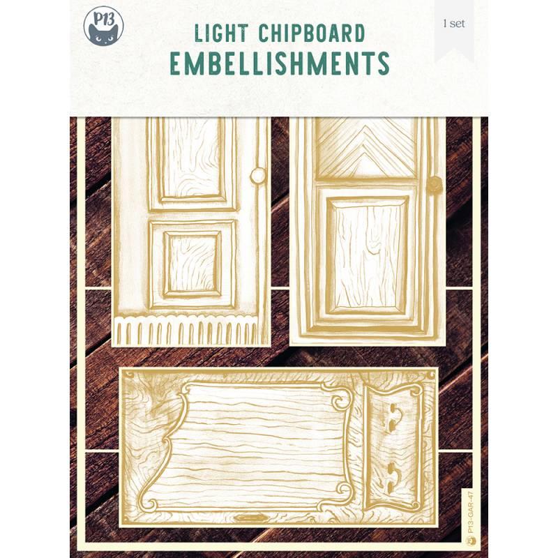 Light chipboard embelishments The Garden of Books 05, 3pcs