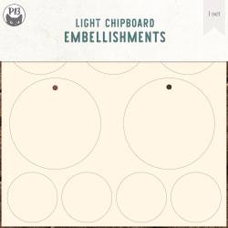 Light chipboard embellishments set for Collection Tags 01, 6x6""