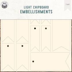 Light chipboard embellishments set for Collection Tags 02, 6x6""