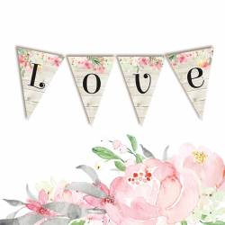 Banerek / die cut Love in Bloom - LOVE 4 szt.