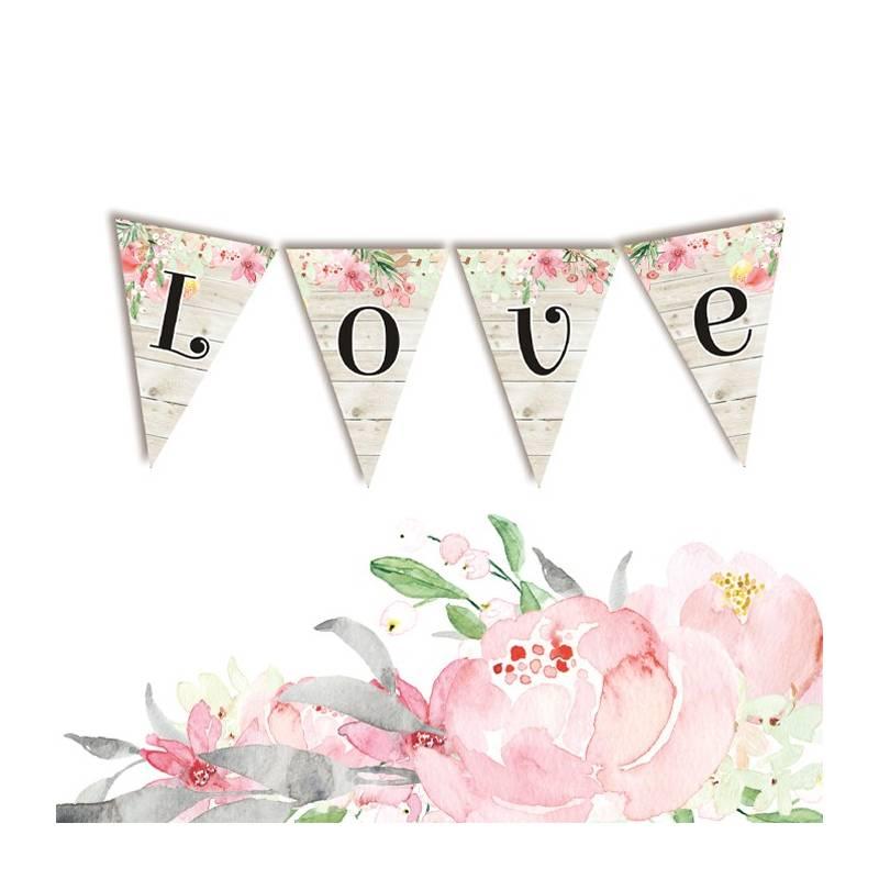 Banner/ die cut paper Love in Bloom - LOVE 4 pcs.