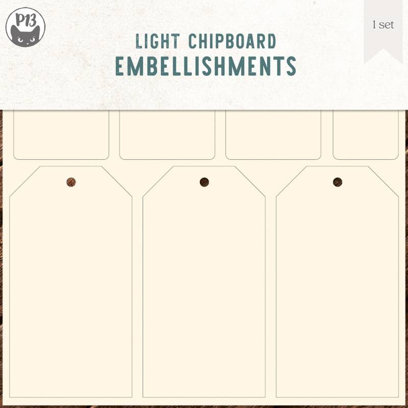 Light chipboard embellishments set for Collection Tags 03, 6x6""
