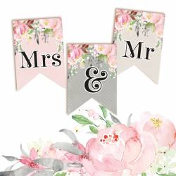 Banerek / die cut Love in Bloom - Mrs & Mr