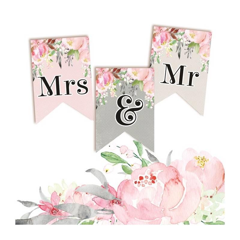 Banner/ die cut paper Love in Bloom - Mrs & Mr 3 pcs.