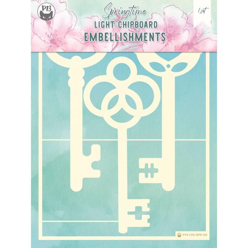 "Light chipboard embellishments Springtime 09, 6x8"", 3pcs"