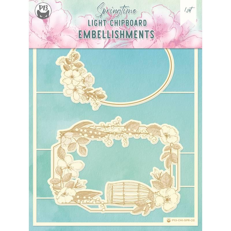 "Light chipboard embellishments Springtime 08, 6x8"", 2sets"