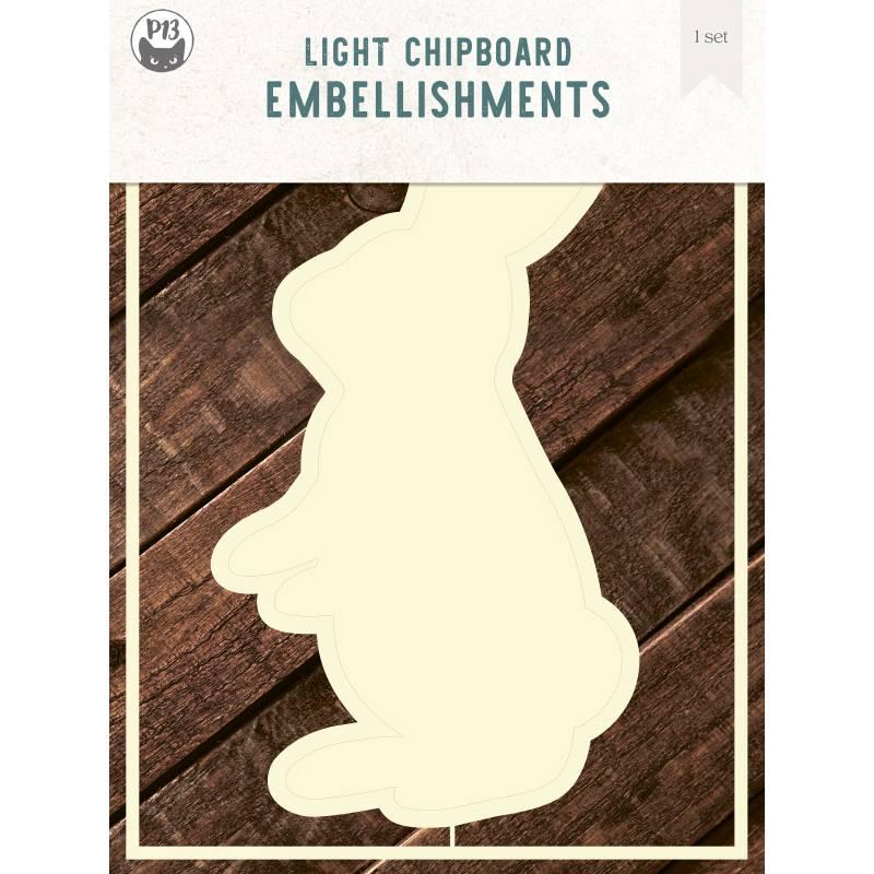 "Light chipboard deco base Bunny, 6x8"", 1set"