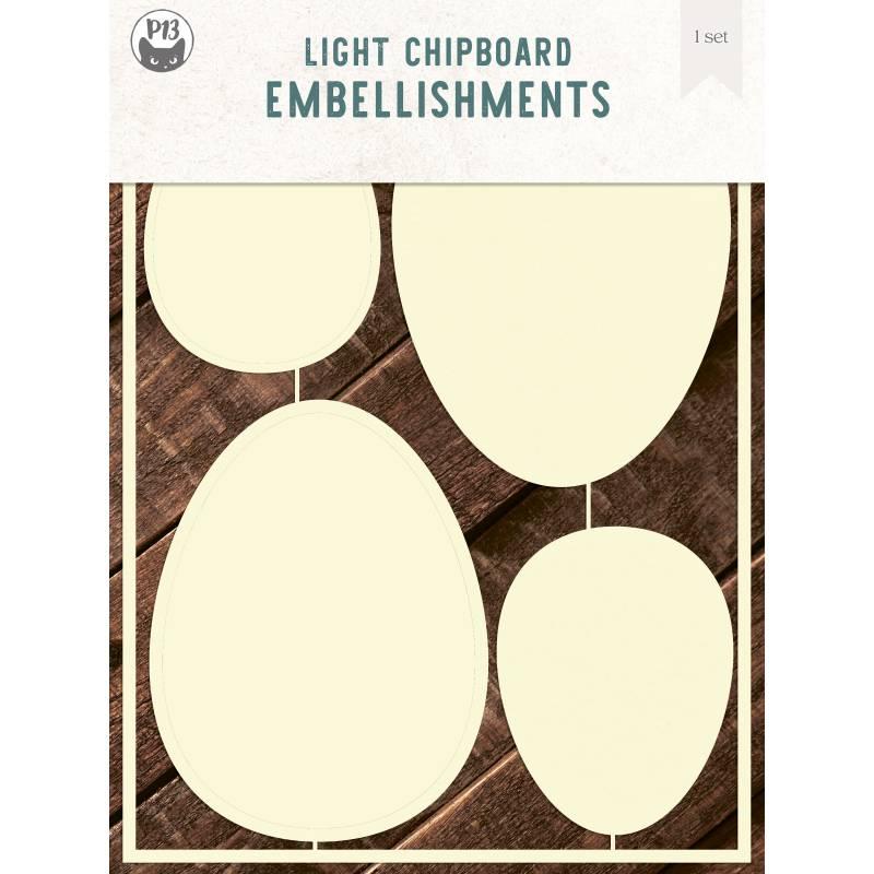 "Light chipboard deco base Easter Eggs, 6x8"", 2sets"