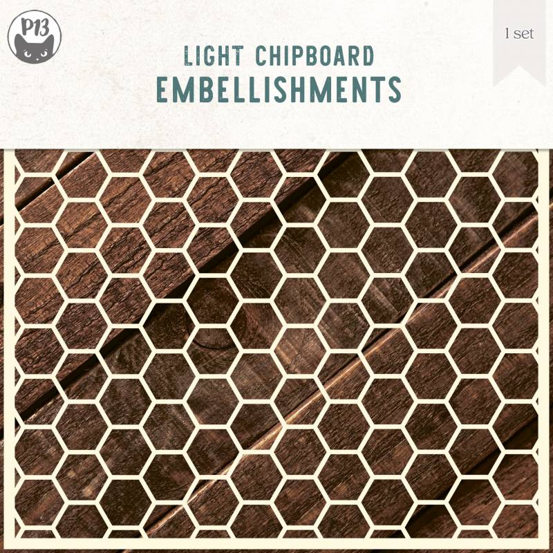 Light chipboard deco base Background 05 - Hexagons L, 6x6""