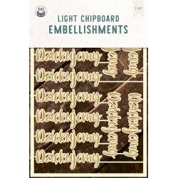 "Light chipboard embelishments Dziękujemy PL, 4x6"", 12pcs"
