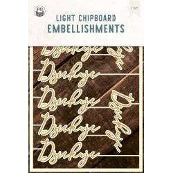 "Light chipboard embelishments Dziękuję PL, 4x6"", 12pcs"