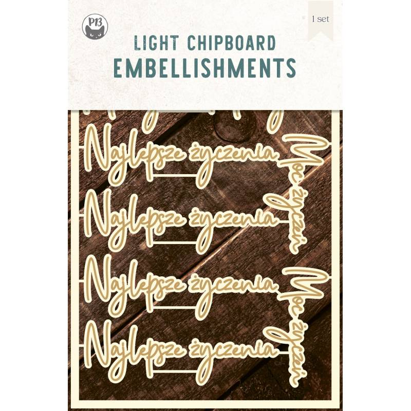 "Light chipboard embelishments set Najlepsze życzenia,  4x6"", 10pcs"