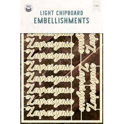 """Light chipboard embellishments Zaproszenie PL, 4x6"""", 14pcs"""