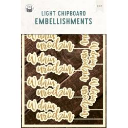 "Light chipboard embelishments W dniu urodzin PL, 4x6"", 8pcs"
