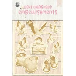 Light chipboard embellishments Baby Joy 01, 11pcs