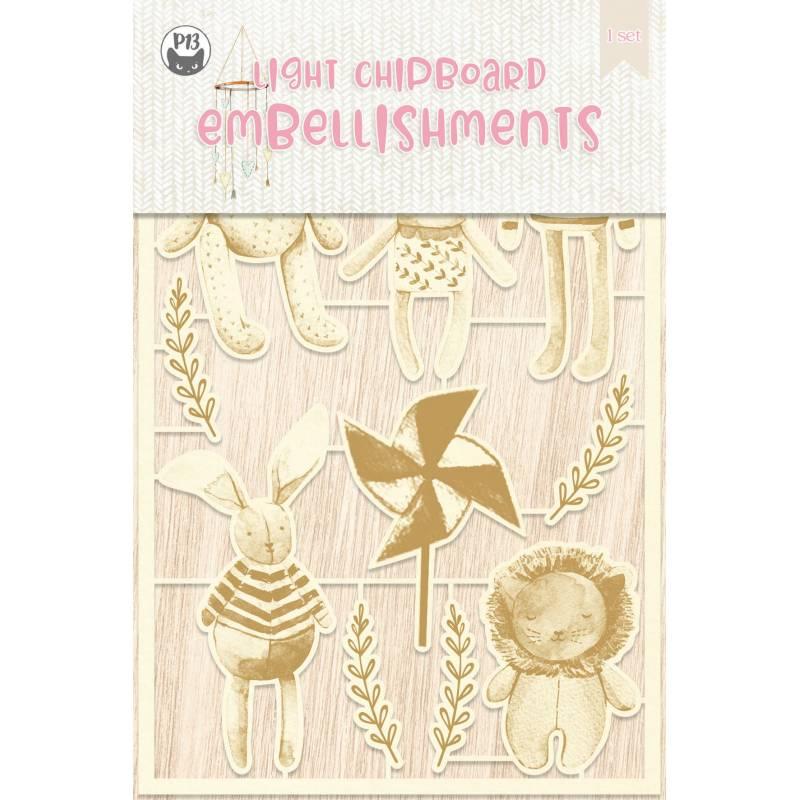 Light chipboard embellishments Baby Joy 02, 11pcs