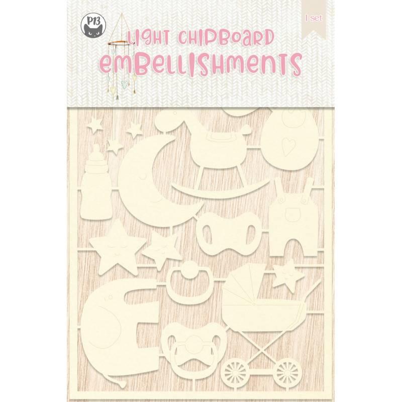 Light chipboard embellishments Baby Joy 03, 16pcs