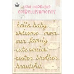 Light chipboard embellishments Baby Joy 06, 15pcs