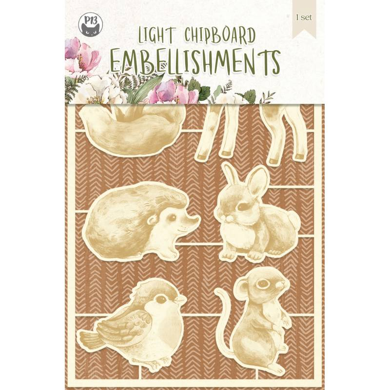 Light chipboard embellishments Forest tea party 01, 6pcs