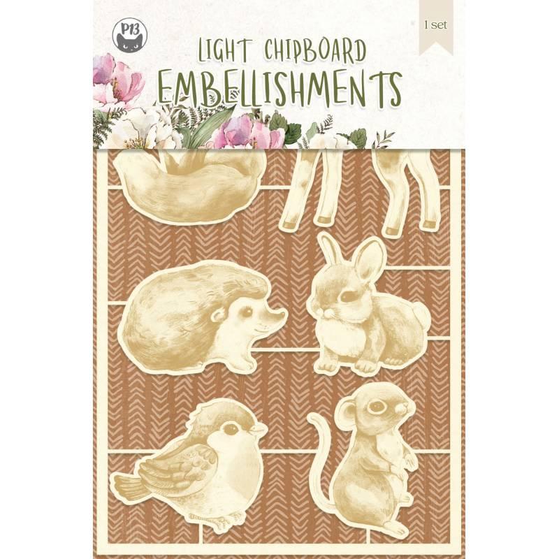 Light chipboard embellishments Forest tea party 01, 6pcs