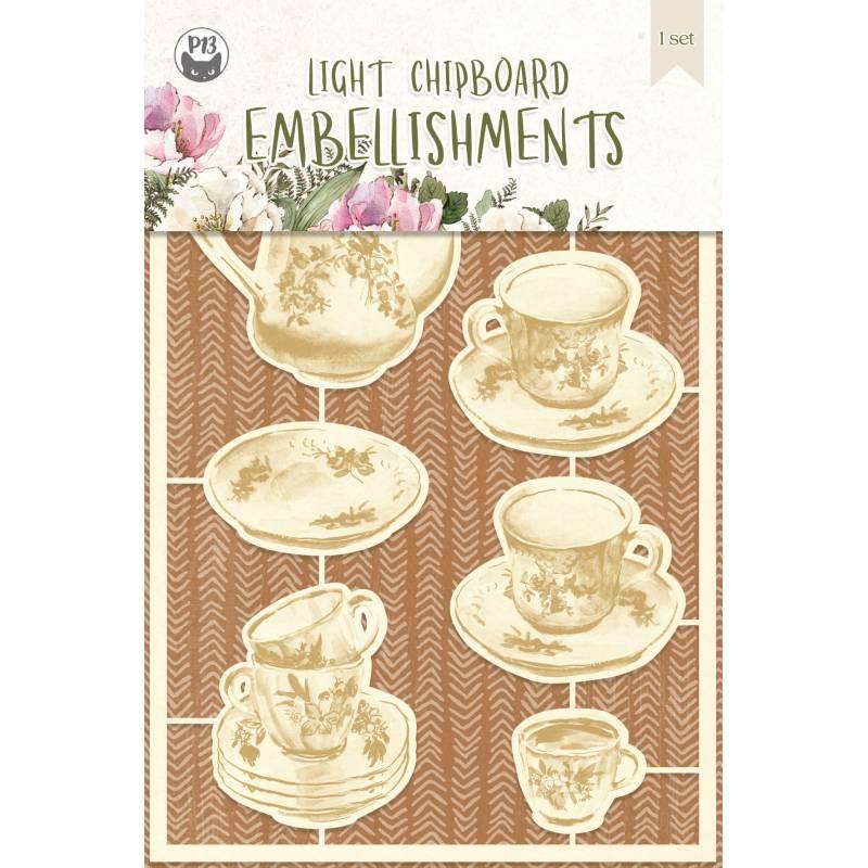 Light chipboard embellishments Forest tea party 02, 7pcs