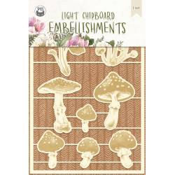 Light chipboard embellishments Forest tea party 03, 8pcs
