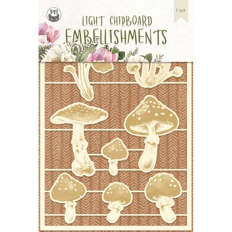 Light chipboard embellishments Forest tea party 03, 8pcs