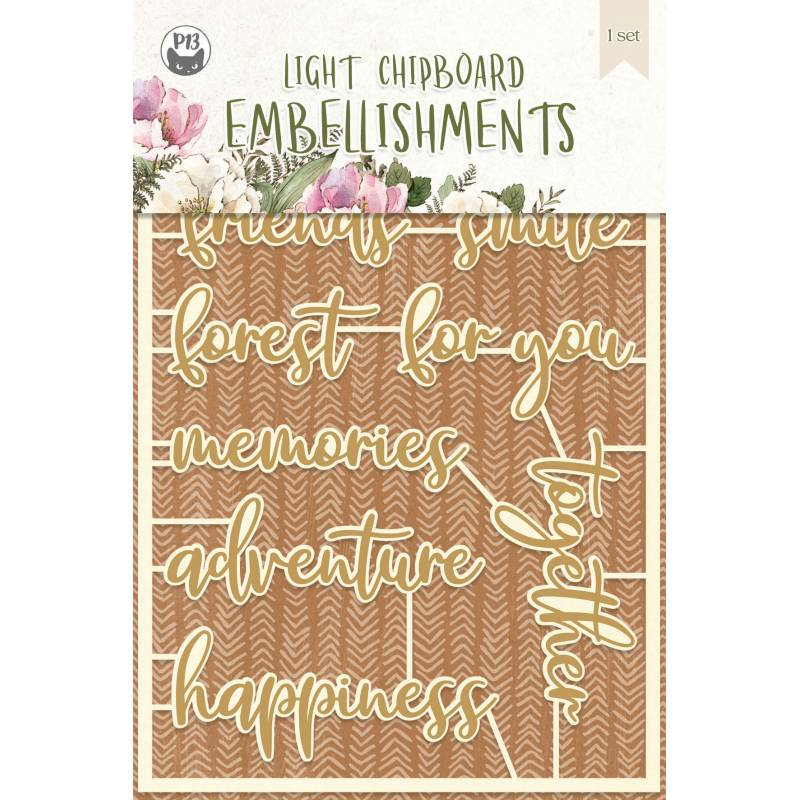 Light chipboard embellishments Forest tea party 06, 10pcs
