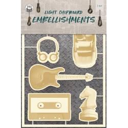 Light chipboard embellishments Free Spirit 02, 6pcs