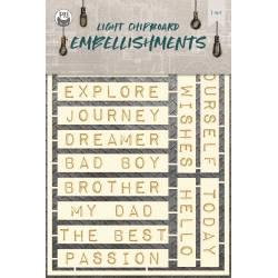 Light chipboard embellishments Free Spirit 04, 15pcs